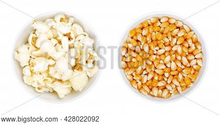 Popped And Unpopped Popcorn In White Bowls. Butterfly Shaped Popcorn, Puffed Up From Heated Kernels,