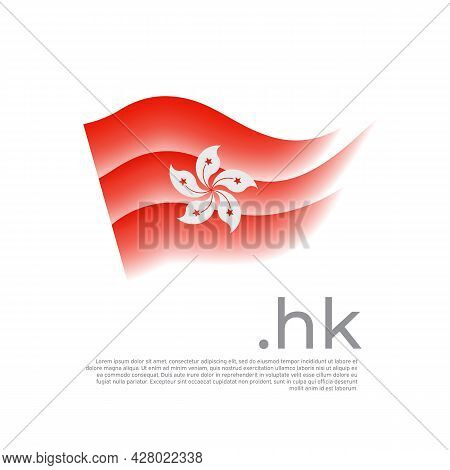Hong Kong Flag. Colored Stripes Of The Hong Kong Flag On A White Background. Vector Stylized Design