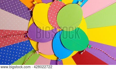 A Bunch Of Colorful Paper Balloons. Balloons Party Invitation Card. Color Papers Geometry Flat Compo