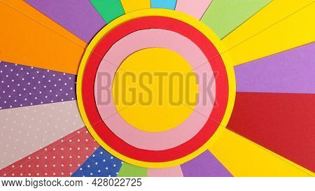 Colorful Paper. Material Design Style Of Color Paper. Color Papers Geometry Flat Composition Backgro