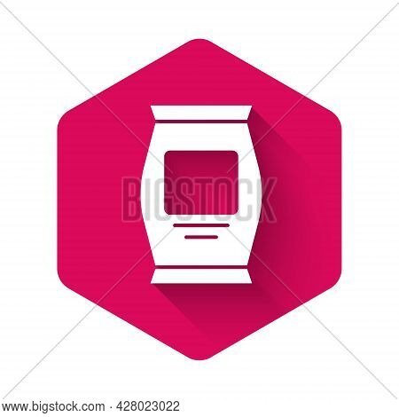 White Fertilizer Bag Icon Isolated With Long Shadow. Pink Hexagon Button. Vector