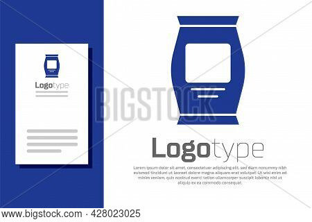 Blue Fertilizer Bag Icon Isolated On White Background. Logo Design Template Element. Vector