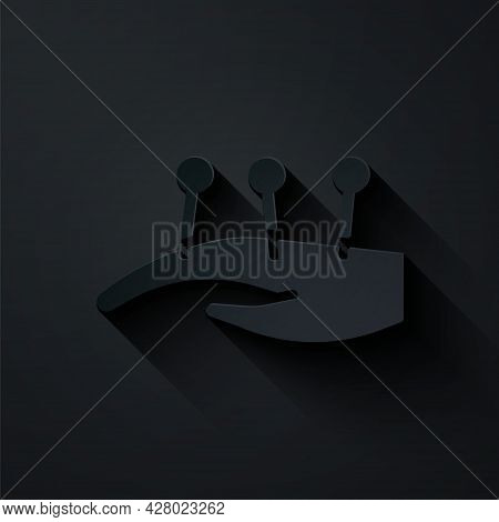 Paper Cut Acupuncture Therapy On The Hand Icon Isolated On Black Background. Chinese Medicine. Holis