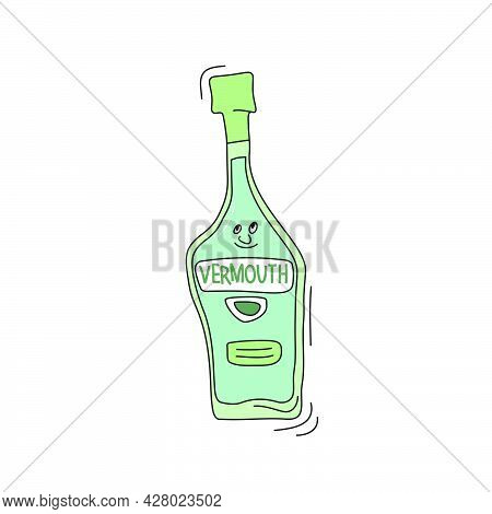 Vermouth Bottle With Face Smile On White Background. Cartoon Sketch Graphic Design. Doodle Character