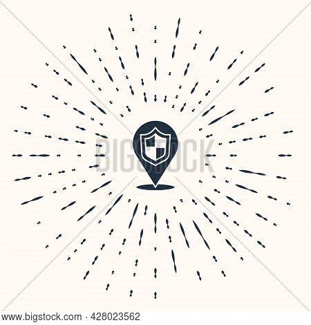 Grey Location Shield Icon Isolated On Beige Background. Insurance Concept. Guard Sign. Security, Saf