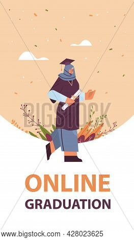 Arab Graduated Student Arabic Female Graduate Celebrating Academic Diploma Degree Education Universi