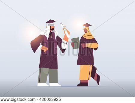 Arab Graduated Students Arabic Graduates Couple Celebrating Academic Diploma Degree Education