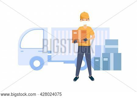 Courier Delivered The Goods Wearing A Mask And Gloves. Logistics And Transportation. The Concept Of