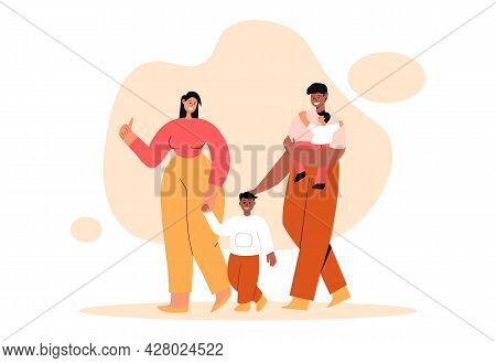 Interracial Happy Couple With Kid. Young Parents Walk With Their Sons And Express Love And Care. Wif