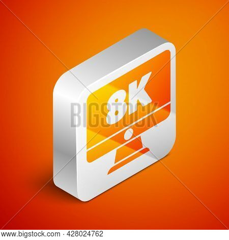 Isometric Computer Pc Monitor Display With 8k Video Technology Icon Isolated On Orange Background. S