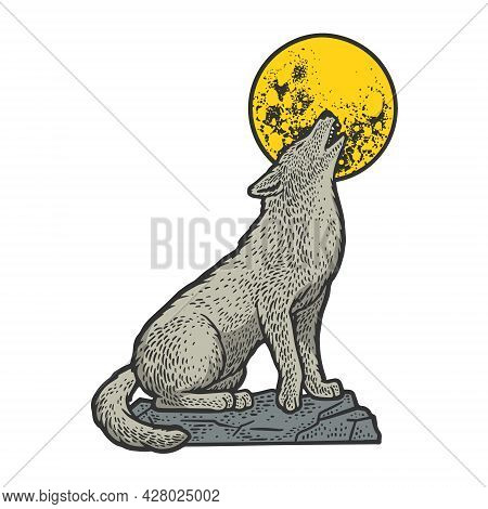 Wolf Howling At The Moon Color Sketch Engraving Vector Illustration. T-shirt Apparel Print Design. S