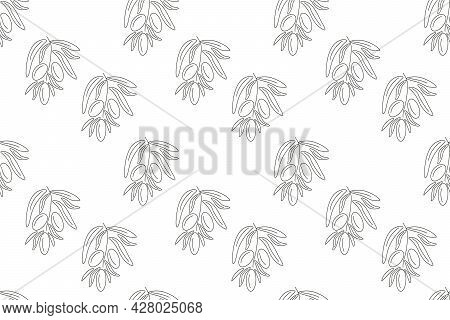 Seamless Patern With Olive Branches. Background For Packaging Or Fabric Design. Vector Illustration.