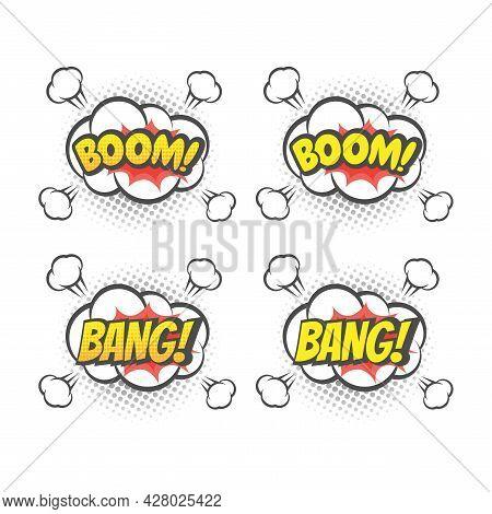 Boom And Bang Explosion Colorful Vector Cartoon. Bang! Boom! Text Lettering Comic.