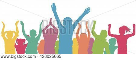 Color Crowd Of Children. Cheerful And Happy Kids. Vector Illustration
