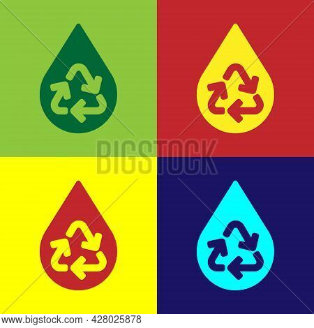 Pop Art Recycle Clean Aqua Icon Isolated On Color Background. Drop Of Water With Sign Recycling. Vec
