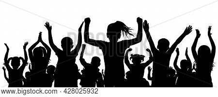 Silhouette Of Crowd Of Children. Happy, Cheerful And Applauding School Children. Vector Illustration