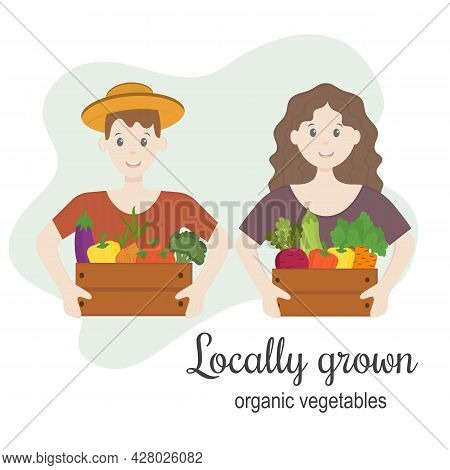 Two Farmers With Locally Grown Organic Vegetables. Harvest Festival, Farmers In Modern Style At The
