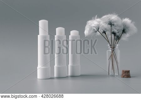 Side View Of Hygienic Lip Balms And Fluffy White Flower On Silver Color Background.