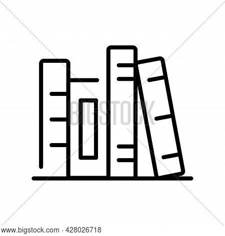 Monochrome Shelf With Books Icon Vector Illustration Textbooks In Bookcase, Store, Library Or Home
