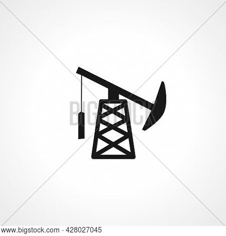 Oil Well Icon. Pumpjack Simple Vector Icon. Oil Well Isolated Icon.