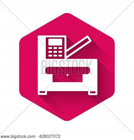 White Office Multifunction Printer Copy Machine Icon Isolated With Long Shadow. Pink Hexagon Button.