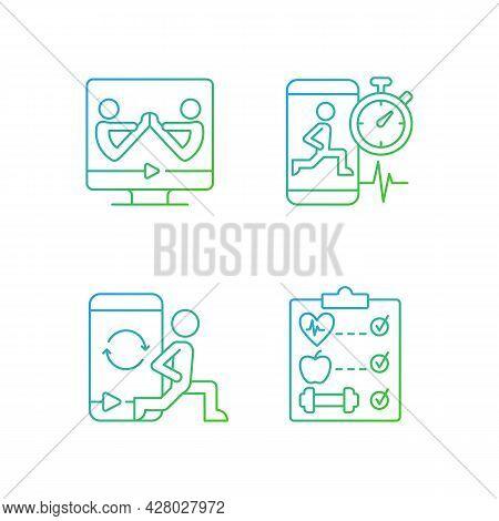 Online Fitness Wellness Programs Gradient Linear Vector Icons Set. High Intensity, Intervals Workout
