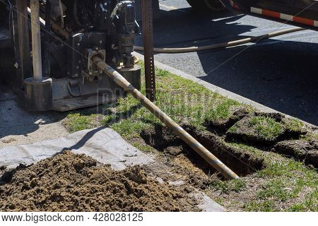 Low Angle View Of Trenchless Laying Of Communications, Fiber Optic And Water Pipes With Horizontal D