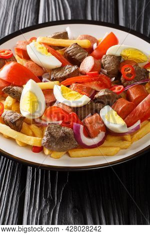 Pique Macho Is A Typical Bolivian Food Consisting Of Pieces Of Beef,  French Fries, Onions, Pepper,