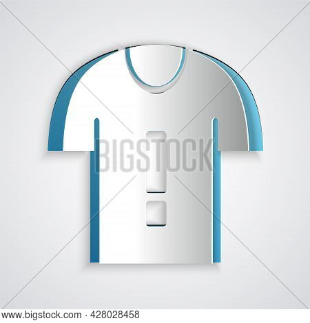 Paper Cut T-shirt Protest Icon Isolated On Grey Background. Paper Art Style. Vector