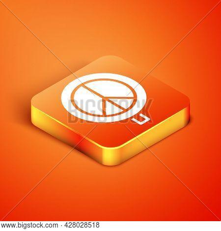 Isometric Peace Icon Isolated On Orange Background. Hippie Symbol Of Peace. Vector