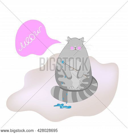 Cute And Funny Cat Luna, Kitten Holding A Paintbrush, Vector Illustration With Space For Text.