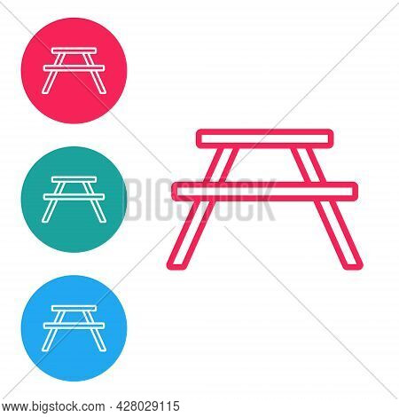 Red Line Picnic Table With Benches On Either Side Of The Table Icon Isolated On White Background. Se