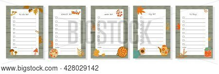 Templates For To-do List, Wish List, Check List  And Shopping List Decorated With Autumn Elements. S