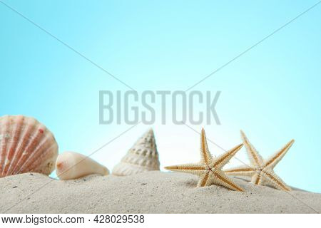 Sand, Shells And Starfish On A Blue Background With Place For Text.
