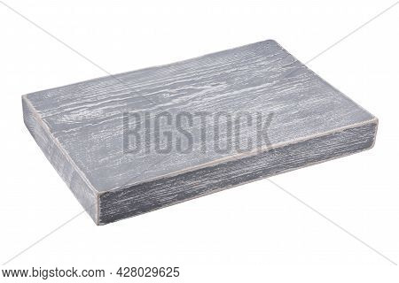 Gray Board With Drawing Lies Isolated On White.