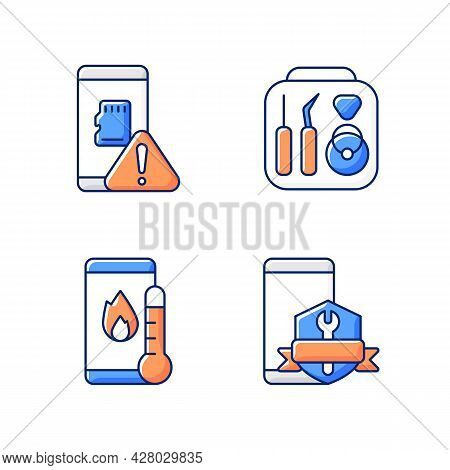 Cellphone Recovery Related Rgb Color Icons Set. Device Fixing Service. Phone Common Problems. Memory