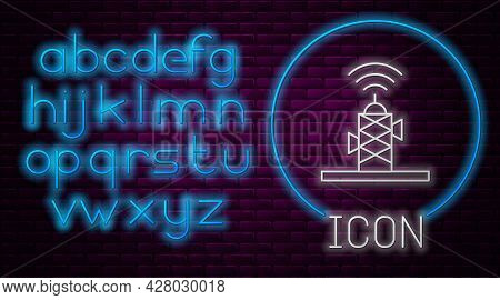 Glowing Neon Line Wireless Antenna Icon Isolated On Brick Wall Background. Technology And Network Si