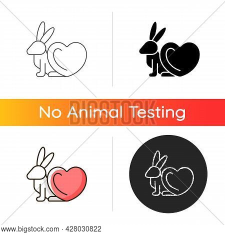 Cruelty Free Gradient Icon. Product Label For Vegan Cosmetic Brand. Animal Protection From Testing.
