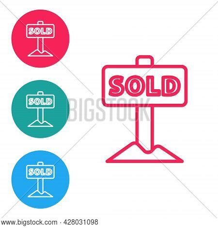 Red Line Hanging Sign With Text Sold Icon Isolated On White Background. Sold Sticker. Sold Signboard