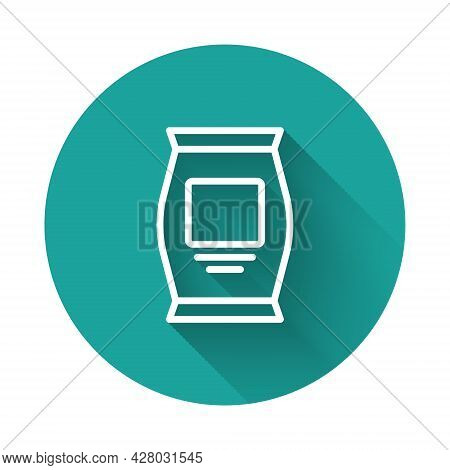 White Line Fertilizer Bag Icon Isolated With Long Shadow. Green Circle Button. Vector