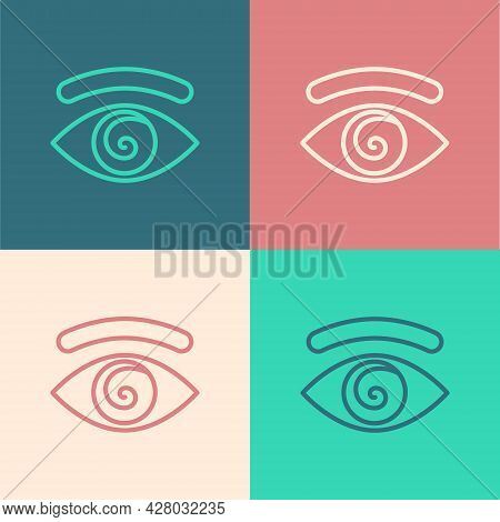Pop Art Line Hypnosis Icon Isolated On Color Background. Human Eye With Spiral Hypnotic Iris. Vector