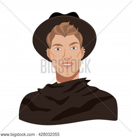Stylish Man In A Hat And Black Coat. Fashionable Man Smiling. Male Portrait In Flat Cartoon Style. M
