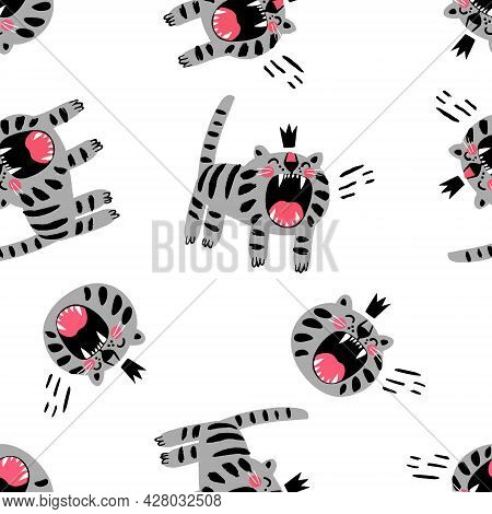 Angry Gray Cat In Crown Roaring With Open Mouth Canine Seamless Pattern Childish Wrapping Print