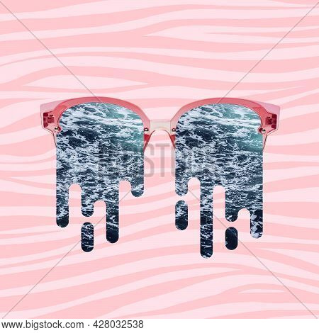 Contemporary Art Collage, Modern Artwork. Trendy Pastel Colors. Composition With Glasses Filled With
