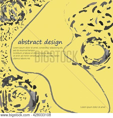 Abstract Texture Vector Art An Soft Yellow And Dark Grayish Cyan Color. Elements Are Not Cropped. Pe