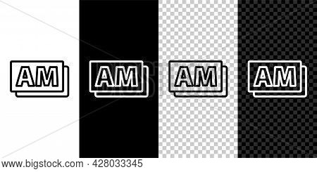 Set Line Clock Am Icon Isolated On Black And White Background. Time Symbol. Vector