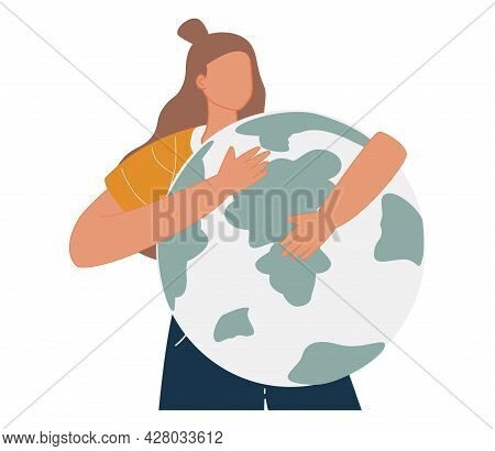 Young Woman Embraces Green Planet Earth With Care And Love. Vector Illustration Of Earth Day And Sav