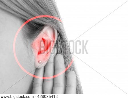 Woman Suffering From Earache, Closeup. Black And White Tone