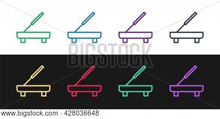 Set Line Scented Spa Stick On A Wooden Stand Icon Isolated On Black And White Background. Incense St