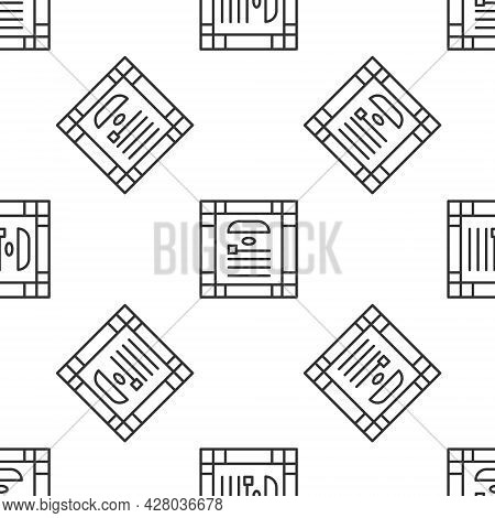 Grey Line 26 November India Constitution Day Icon Isolated Seamless Pattern On White Background. Vec